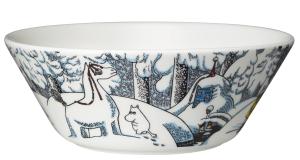 Vinter säsongs skål i begränsad upplaga från Arabia 2016. Snöhästen Muminskål är 15 cm i diameter och designad av Tove-Slotte Elevant. 269 kr.